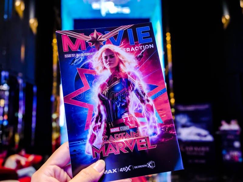 曼谷,泰国- 2019年3月4日:Marvel上尉陈列,奇迹超级英雄电影电影照片在戏院的 图库摄影