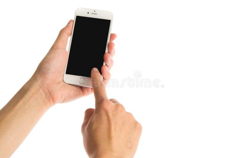 曼谷,泰国- 2015年12月22日:在白色背景的苹果计算机iPhone 6关闭了与黑显示 免版税库存图片