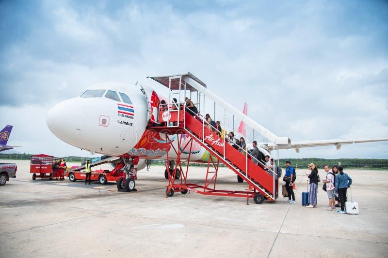 曼谷,泰国- 7月29,2018 :在国际性组织的亚洲航空飞行 库存图片