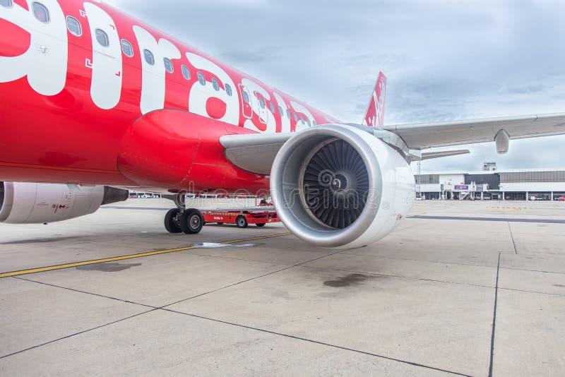 曼谷,泰国- 6月23,2015 :在泰国亚洲航空Engin的特写镜头 库存图片
