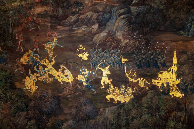 曼谷,泰国10月8,2010:在wat phra kaew的油画从泰国艺术家是美丽的在泰国 免版税库存图片