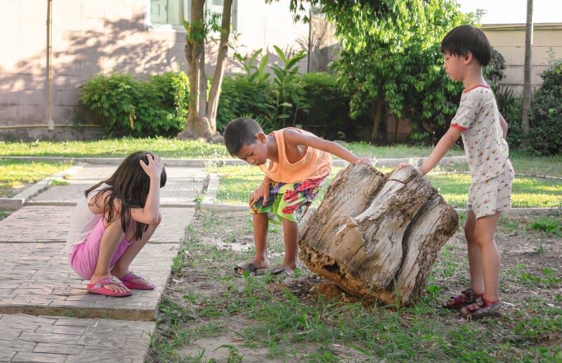 曼谷,泰国- 7月28:无提名的孩子2019年7月28日探索并且充当自然城市庄园的公园在曼谷 库存照片