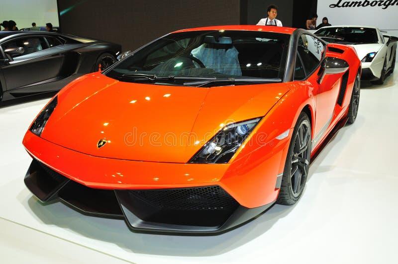 曼谷,泰国- 3月30 : 显示的Lamborghini超级Leggera汽车 免版税图库摄影
