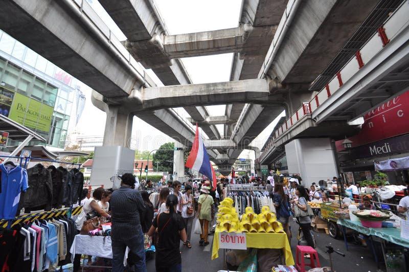 曼谷/泰国- 02 16 2014年:作为`停工曼谷`操作一部分,黄色衬衣阻拦并且占领泰国 图库摄影