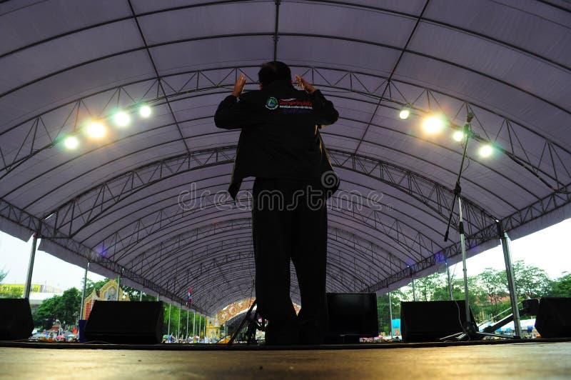曼谷/泰国- 11 24 2012年:泰国人抗议反对gouvernment在皇家广场 库存图片