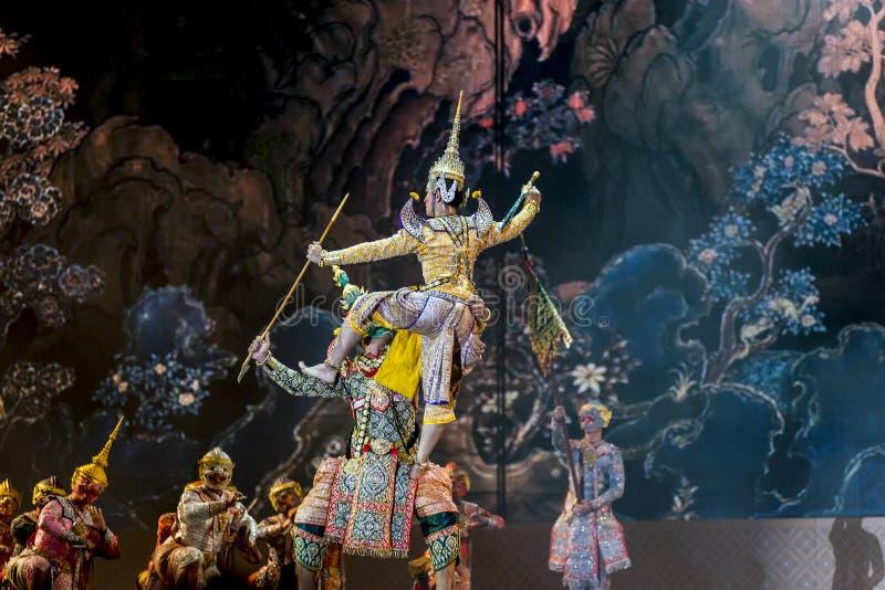 曼谷 泰国- 2015年12月13日, Khon是Tha舞蹈戏曲  库存图片