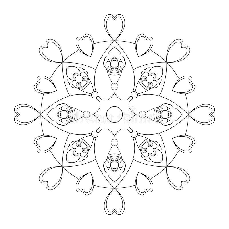 曼达拉圣诞节, 插图矢量为黑白 艺术治疗 装饰元件 库存图片