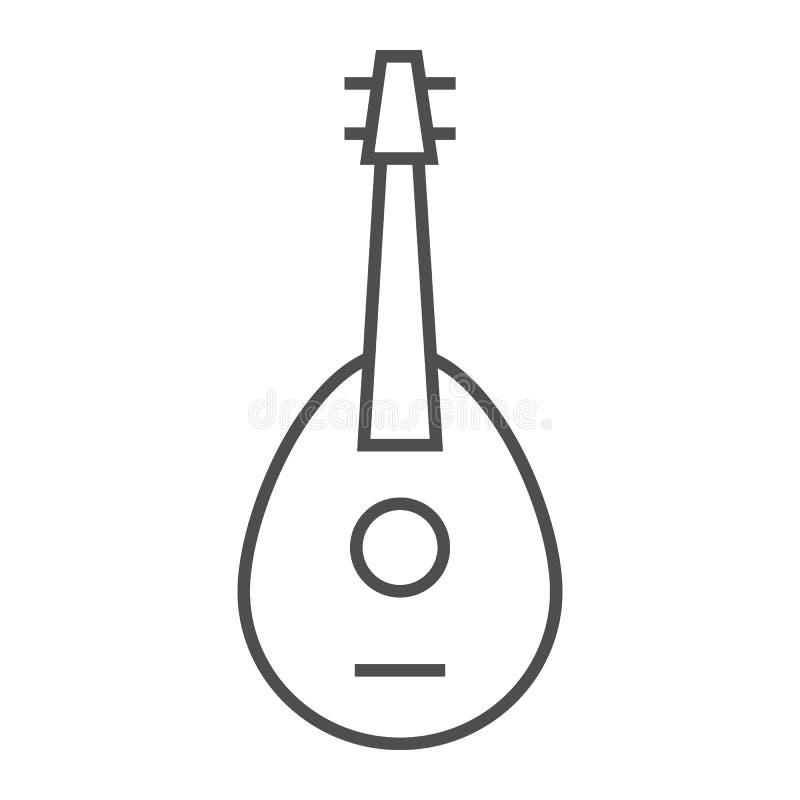 曼陀林稀薄的线象,音乐会和串,吉他标志,向量图形,在白色背景的一个线性样式 皇族释放例证
