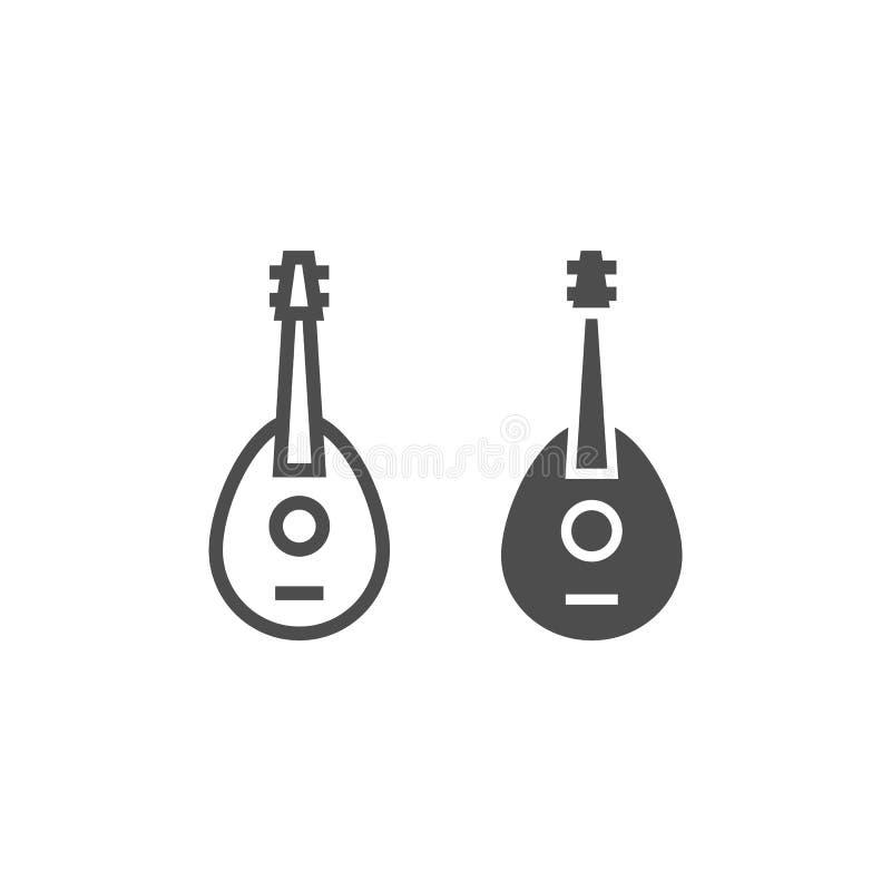 曼陀林线和纵的沟纹象、音乐会和串,吉他标志,向量图形,在白色背景的一个线性样式 皇族释放例证