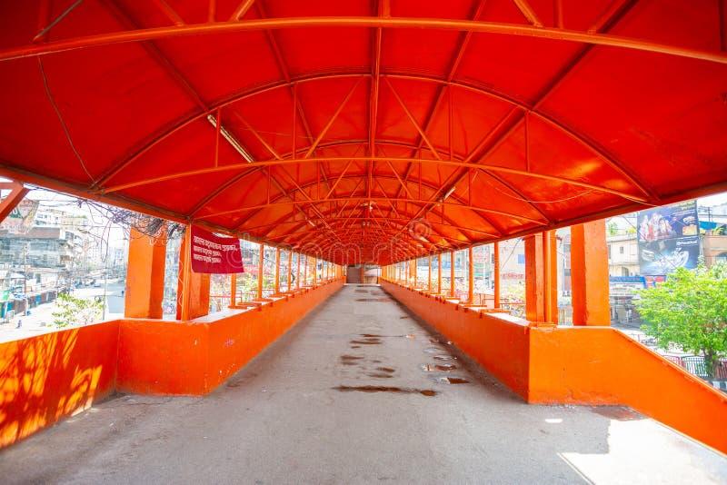曾经人满为患的纽马克特桥脚如今在孟加拉国达卡空无一人 免版税库存图片