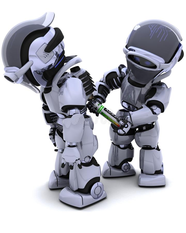 替换机器人的电池装箱 皇族释放例证