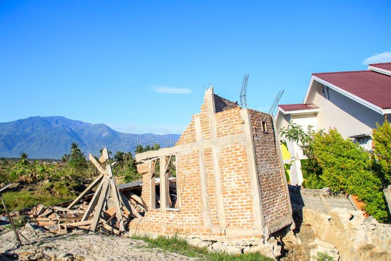 最严重的损伤在苏拉威西岛中部 库存图片