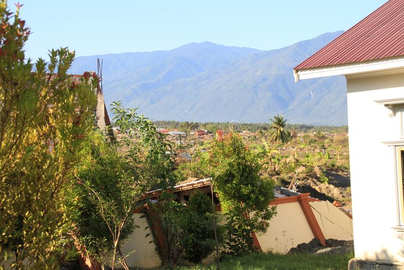 最严重的损伤在苏拉威西岛中部 库存照片