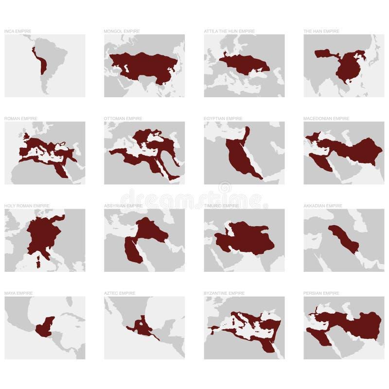 最伟大的世界帝国的地图 库存例证