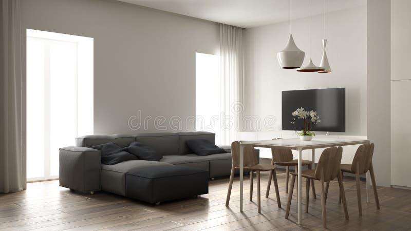 最低纲领派客厅,室内设计,现代灰色沙发,与木椅子,木条地板地板,豪华吊灯的饭桌 库存例证