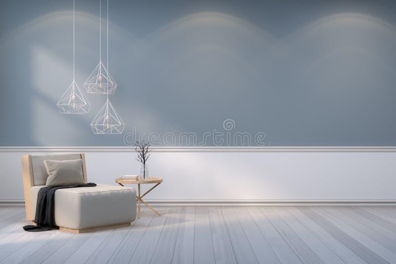 最低纲领派室室内设计、木扶手椅子有白色灯的在灰色墙壁和木头地板/3d回报 库存例证