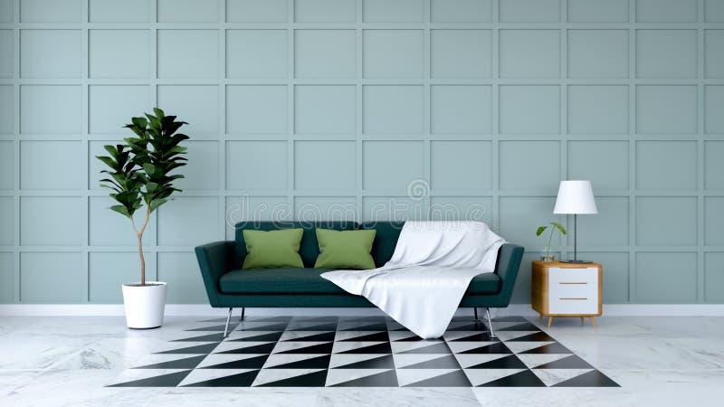 最低纲领派室室内设计、绿色沙发在大理石地板和浅兰的墙壁/3d回报 库存例证
