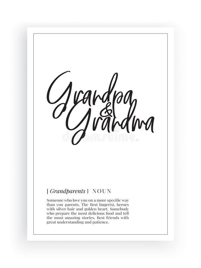 最低纲领派措辞的设计,祖父祖母定义,墙壁装饰,墙壁标签导航,名词描述 皇族释放例证