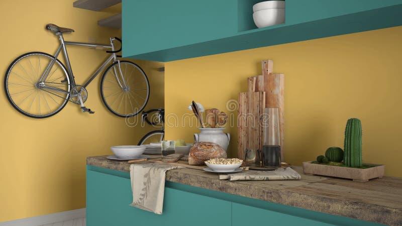 最低纲领派现代厨房关闭与健康早餐、色的当代黄色和绿松石内部 免版税图库摄影