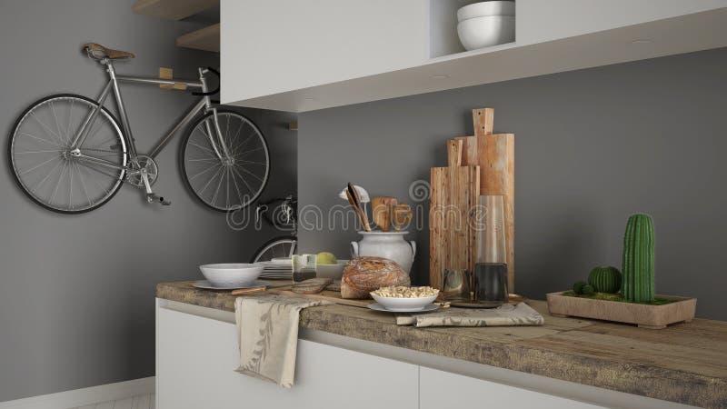 最低纲领派现代厨房关闭与健康早餐,当代白色和灰色内部 库存照片