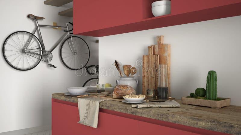 最低纲领派现代厨房关闭与健康早餐,当代白色和红色内部 图库摄影