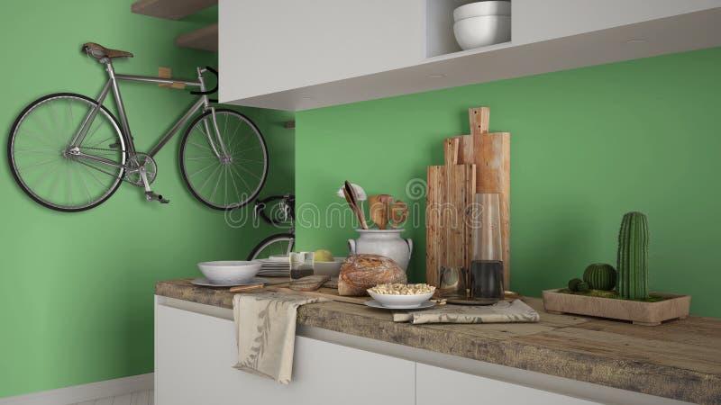 最低纲领派现代厨房关闭与健康早餐,当代白色和绿色内部 免版税库存图片