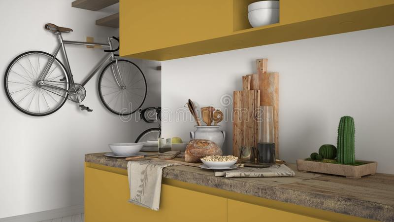最低纲领派现代厨房关闭与健康早餐,当代白色和黄色内部 库存照片