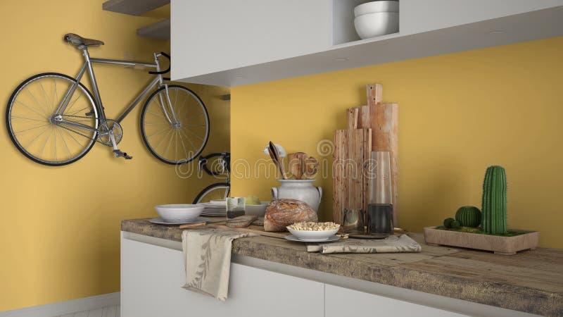 最低纲领派现代厨房关闭与健康早餐,当代白色和黄色内部 库存图片