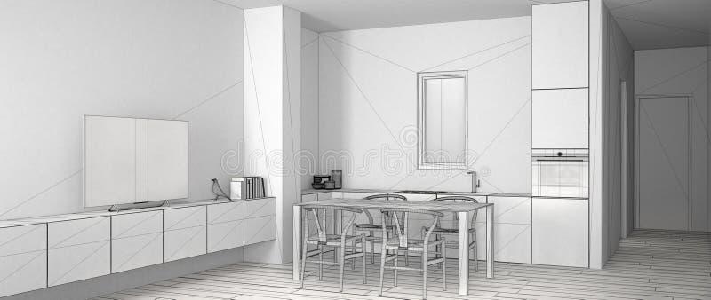 最低纲领派白色厨房,烤箱水槽和煤气炉,现代当代未完成的项目有饭桌和镶花地板的 向量例证