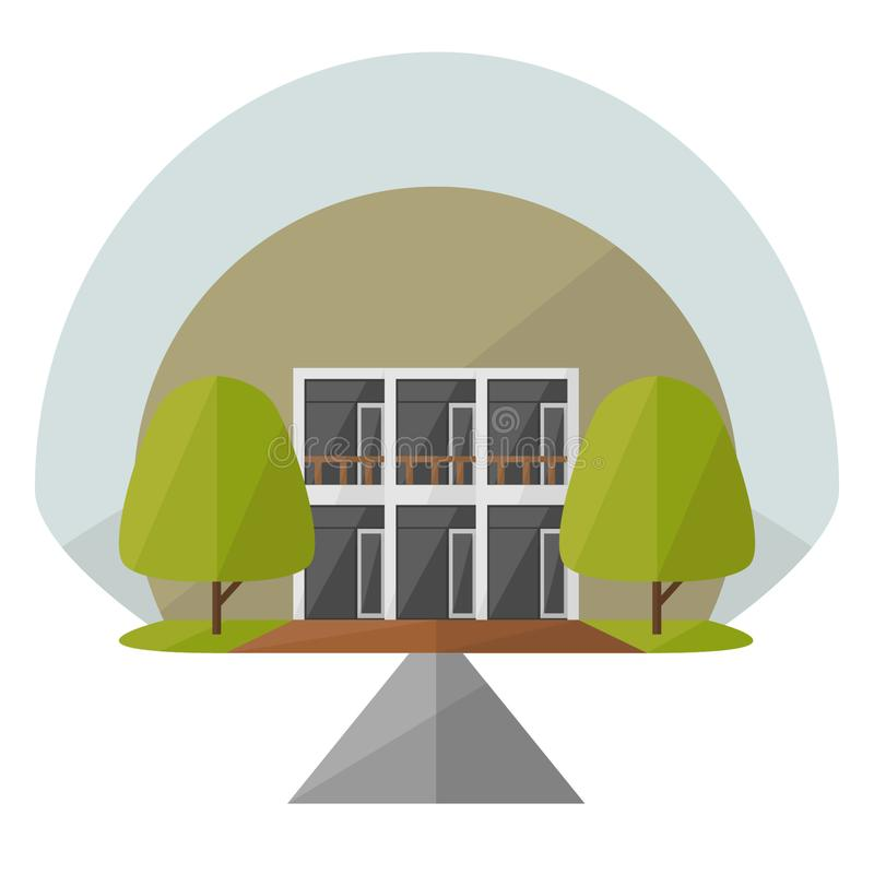 最低纲领派议院/公寓设计 库存例证