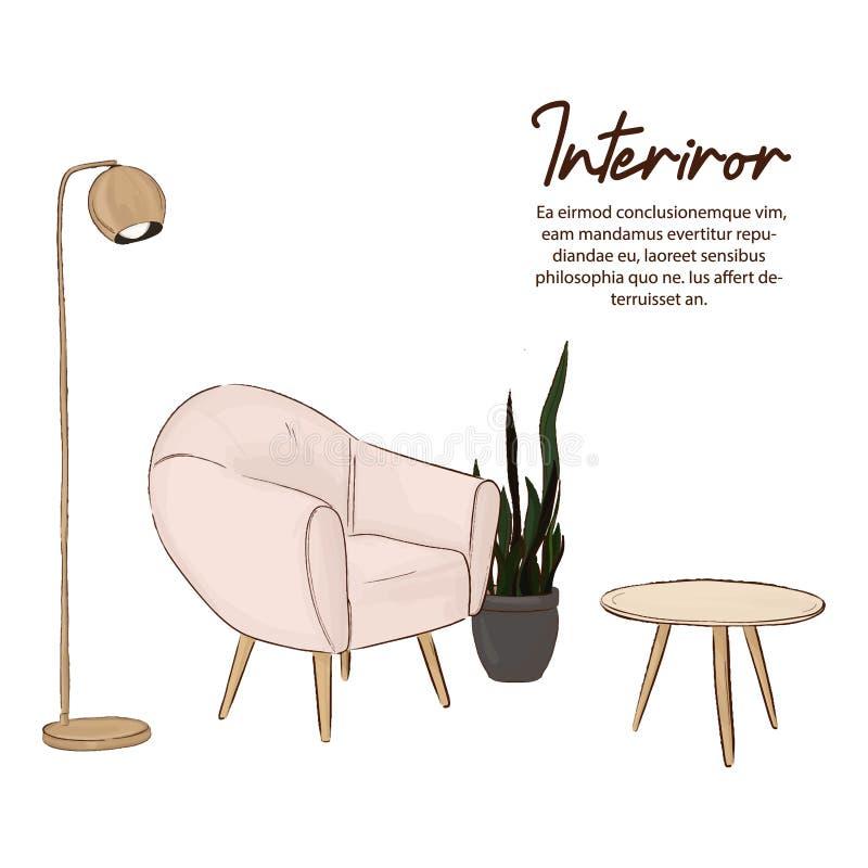最低纲领派设计剪影 斯堪的纳维亚样式 轻松的家庭例证 与椅子、灯、木桌和绿色植物的家庭装饰 PA 向量例证