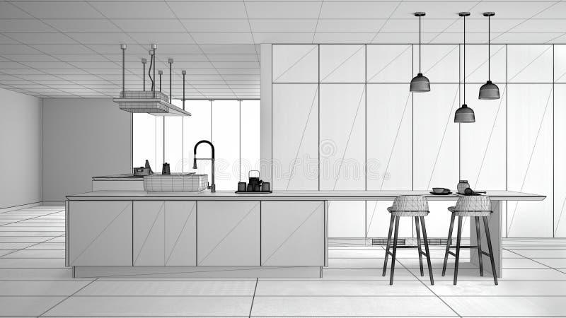 最低纲领派豪华昂贵的厨房、海岛、水槽和气体滚刀,露天场所,陶瓷地板,现代内部未完成的项目  库存例证