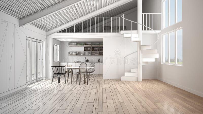 最低纲领派露天场所,白色厨房和现代螺旋形楼梯,有卧室的,概念顶楼未完成的项目有中楼的 库存例证