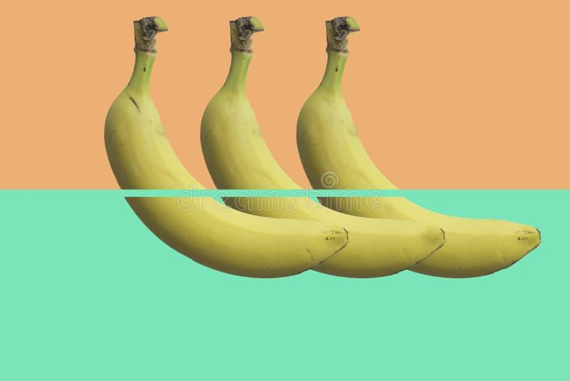 最低纲领派香蕉样式 三个香蕉连续 库存照片
