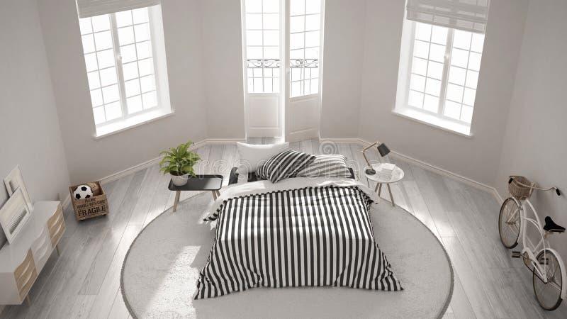 最低纲领派现代白色卧室,经典北欧室内设计, 免版税库存照片