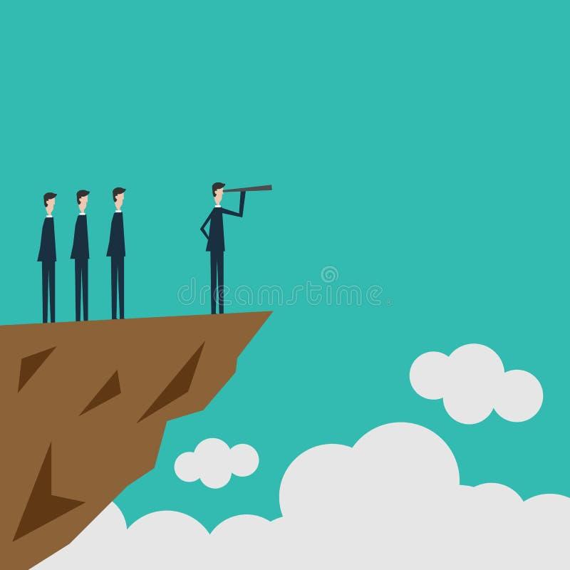 最低纲领派窗框 企业财务 与商人和望远镜,标志领导, s象的成功的视觉概念  库存例证