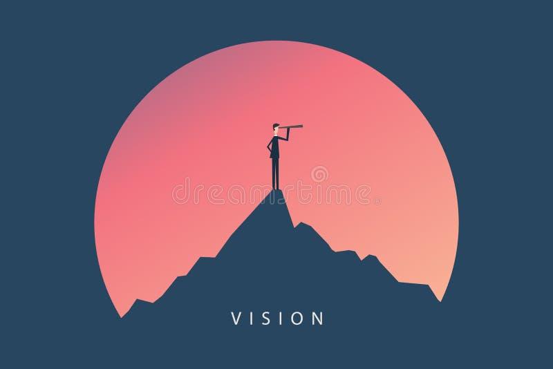 最低纲领派窗框 企业财务 与商人和望远镜,标志领导, s象的成功的视觉概念  皇族释放例证