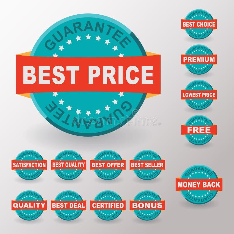 最佳的与丝带的价格保证平的标签 平的设计 皇族释放例证
