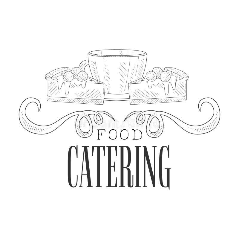 最佳的与咖啡杯和蛋糕设计模板的承办酒席服务手拉的黑白标志与书法文本 向量例证