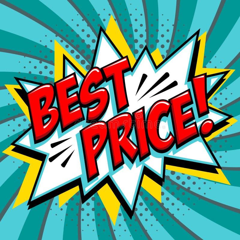 最佳的价格-漫画书在蓝绿色背景的样式词 最佳的价格可笑的文本讲话泡影 在流行艺术的横幅 向量例证