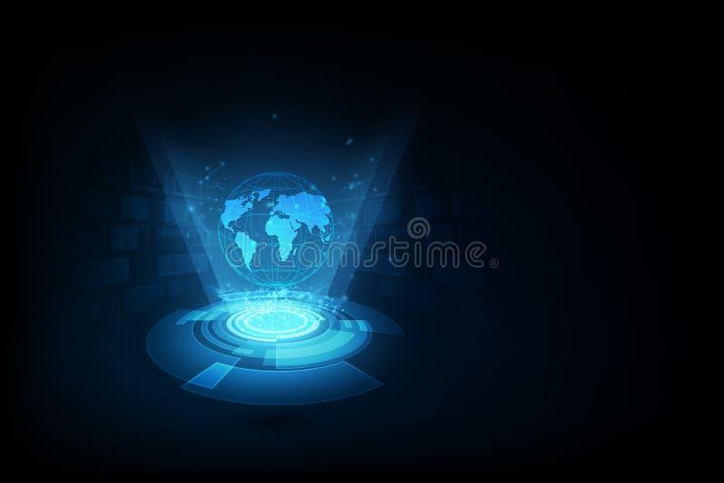 最佳的企业概念全球互联网 地球,发光的线o 皇族释放例证