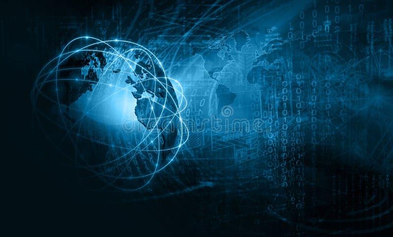 最佳的企业概念全球互联网 地球,在技术背景的发光的线 wi-fi,光芒
