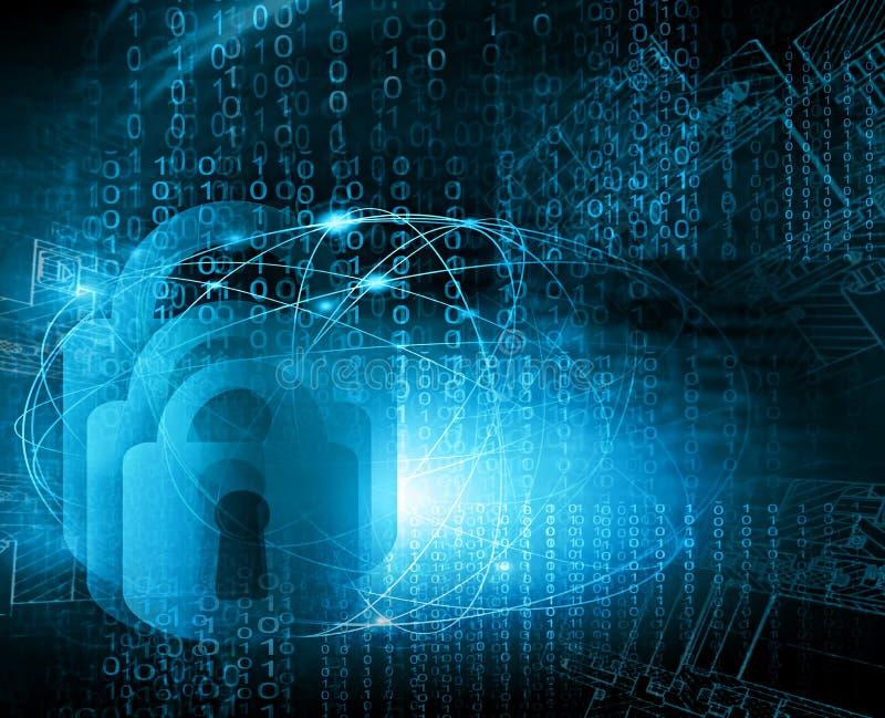 最佳的企业概念全球互联网 技术背景 抽象安全数字技术背景 库存例证