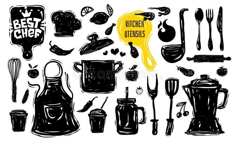 最佳的厨师烹饪学校商标设计标签胶粘物海报横幅 厨房用具食物元素 向量例证
