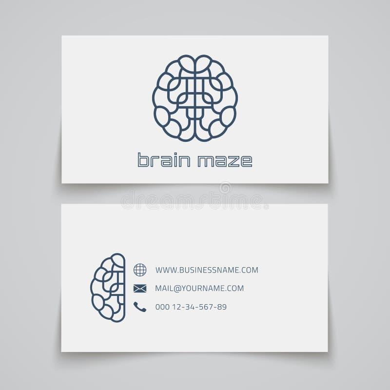 最佳的名片原来的打印准备好的模板向量 脑子迷宫商标 皇族释放例证