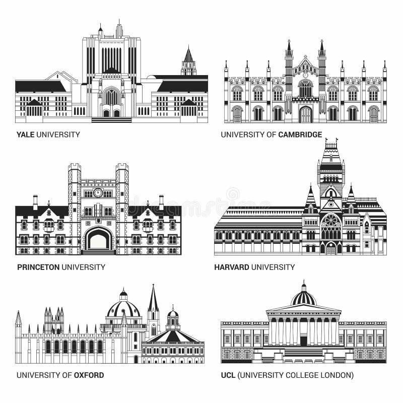 最佳的国立大学 耶鲁平的大厦、牛津、哈佛和剑桥、普林斯顿和UCL大学学院 向量例证