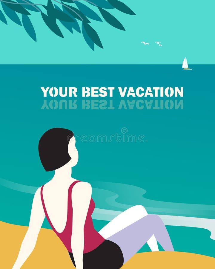 最佳的夏天休假手拉的平的海报 库存例证