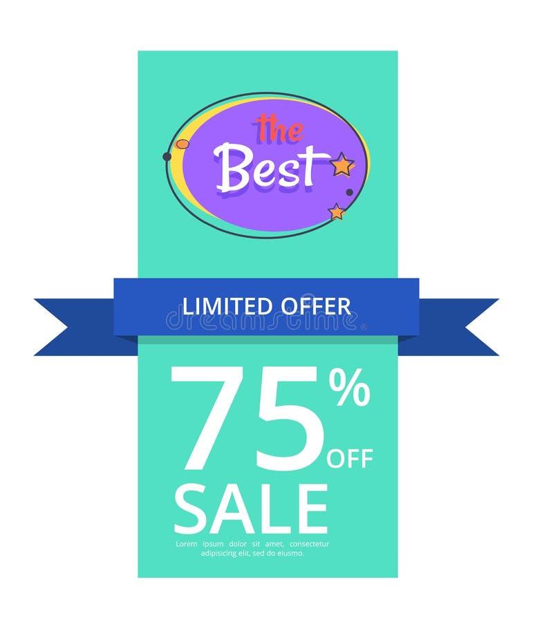 最佳的夜销售横幅的有限的提议75 向量例证