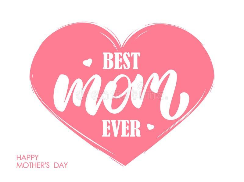 最佳的妈妈的手写的现代在上写字的构成桃红色心脏背景的 皇族释放例证