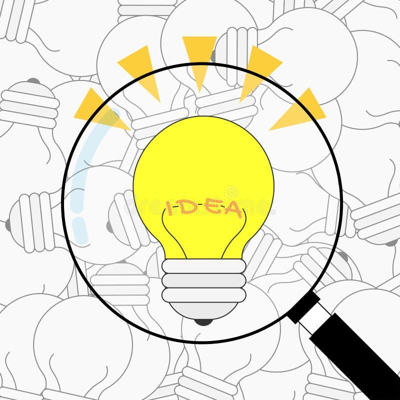 最佳的想法电灯泡在许多残破的电灯泡中发现了 背景传染媒介设计 皇族释放例证